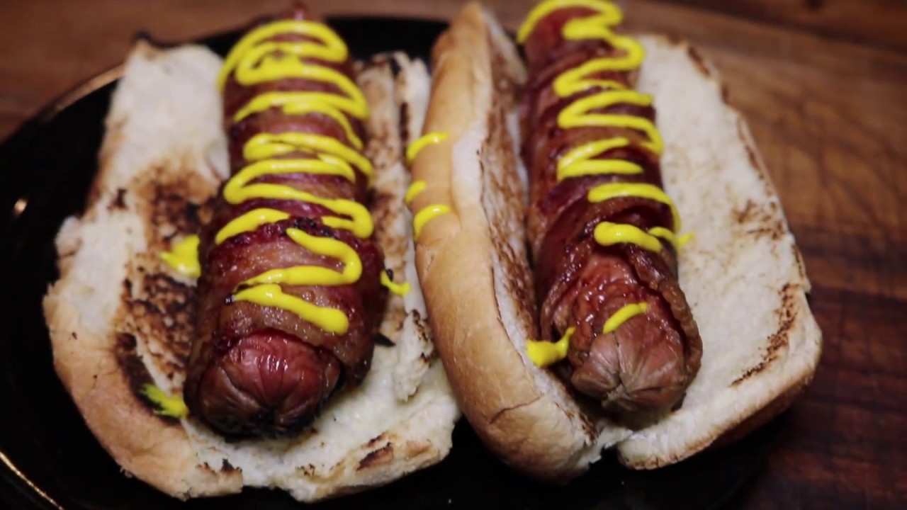 Bacon Wrapped Hot dog super bowl best party foods