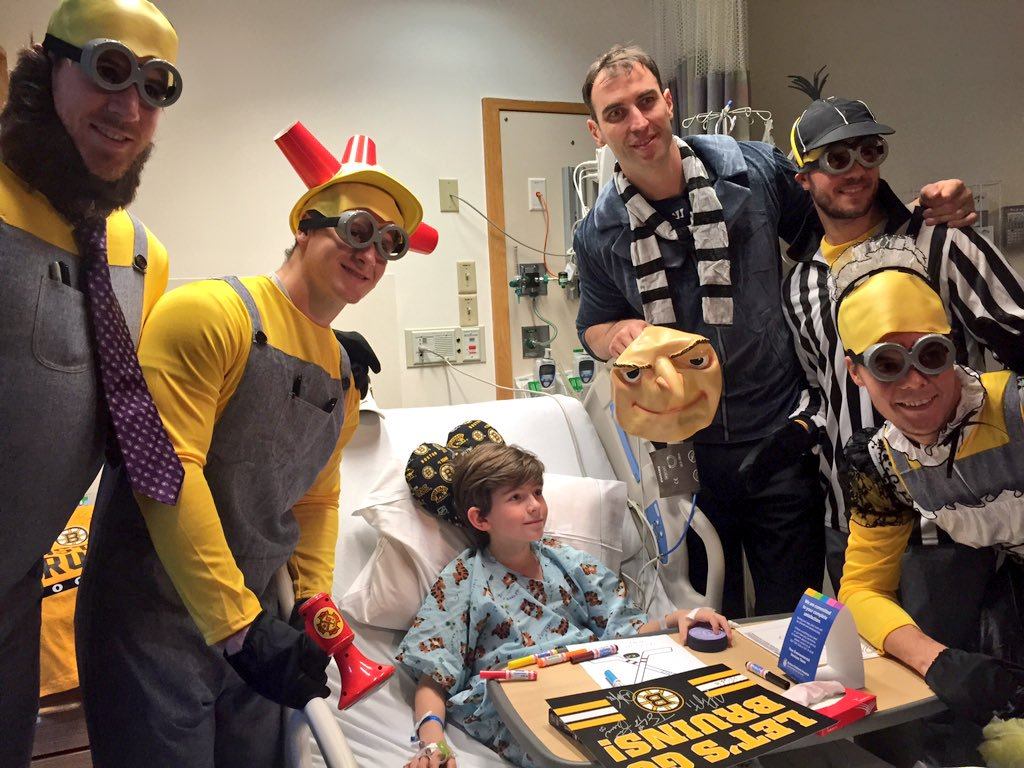 Boston Bruins dress up as despicable me minions for Boston Childrens Hospital
