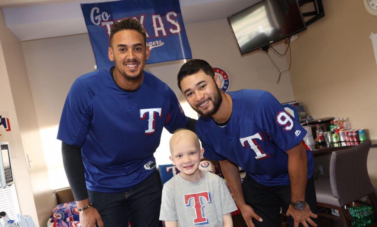Texas Rangers visiting Medical City Childrens Hospital Ronald Guzman and Isiah KIner-Falefa