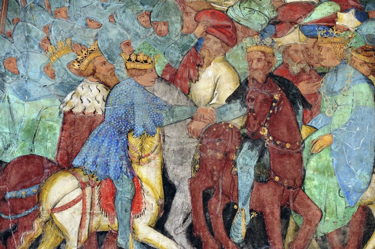 The meeting between Garel and King Arthur, Italy, 14th century.