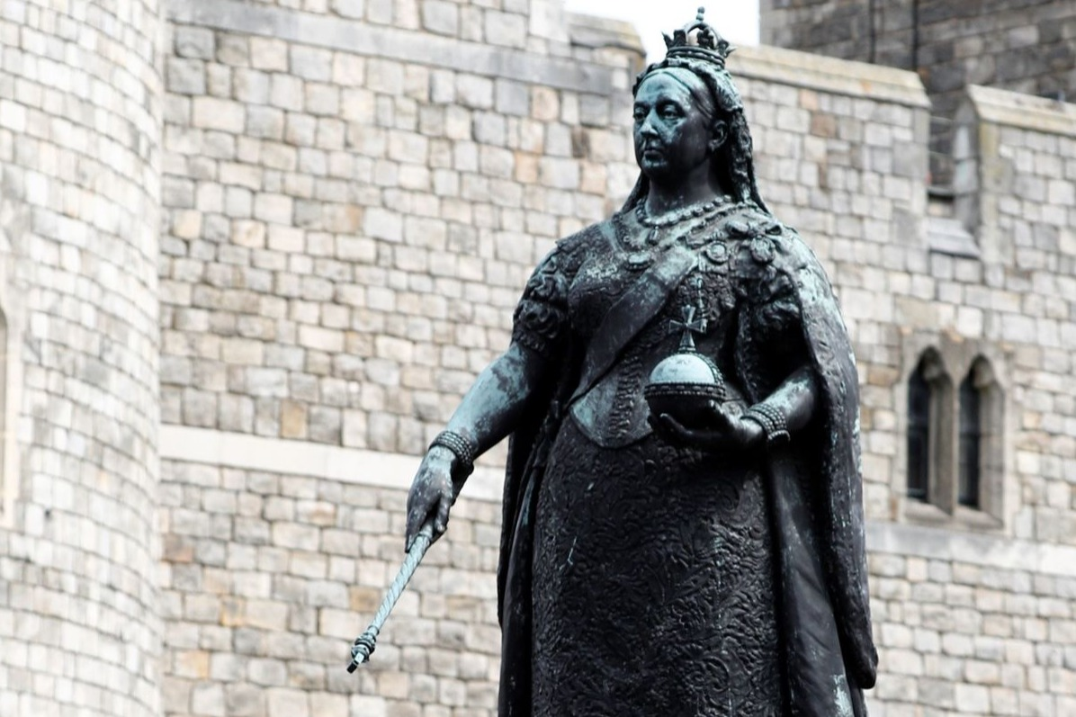 a statue of Britain's late Queen Victoria, outside Windsor Castle in Windsor