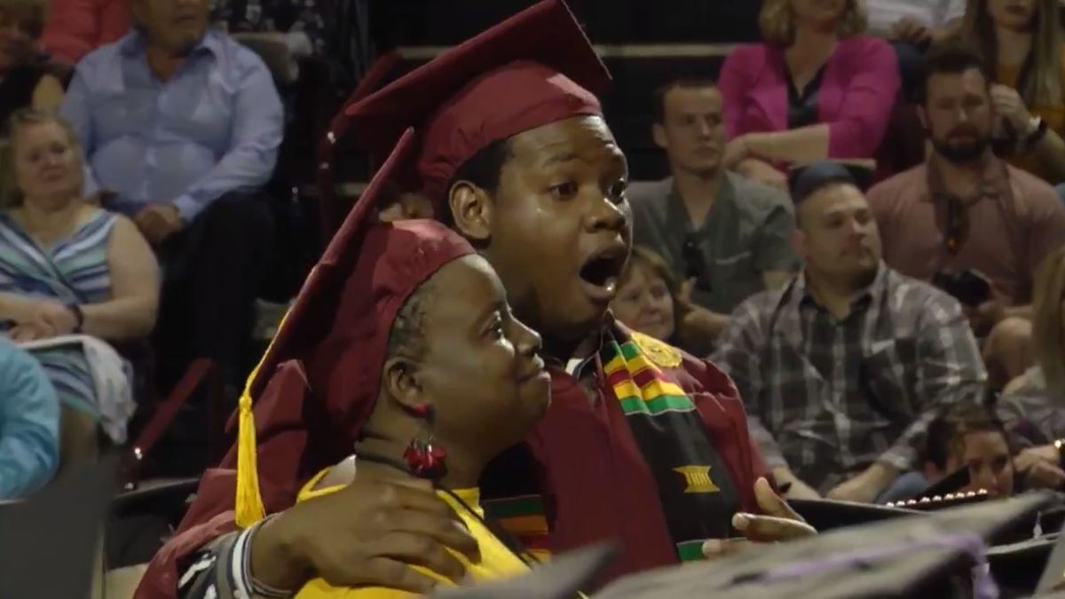 mom skips her own graduation to attend her sons