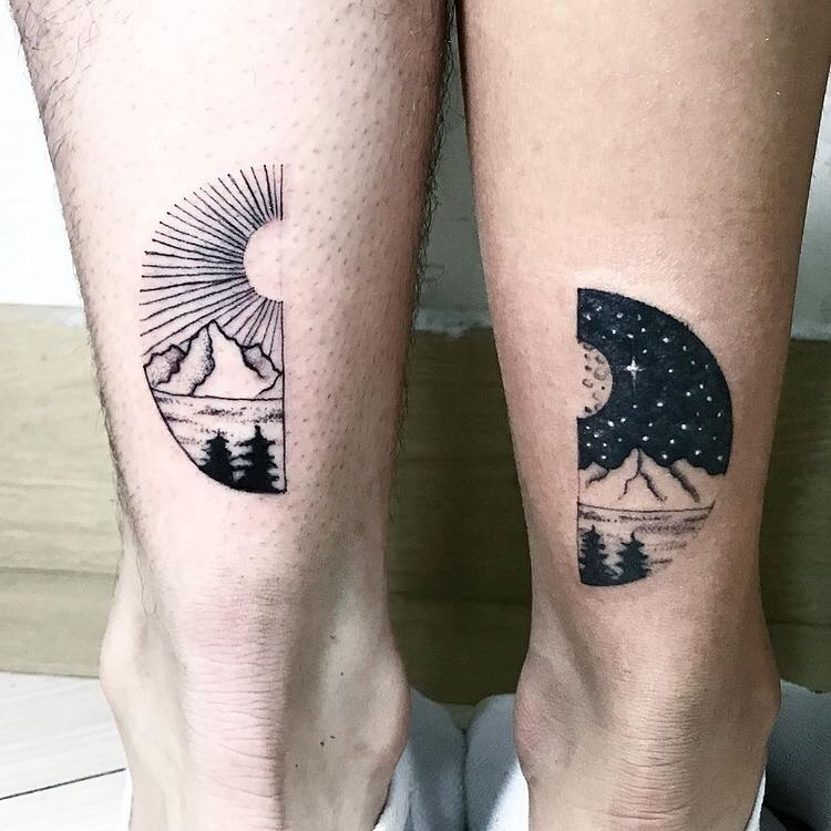 matching tattoos on calved of day and night scene