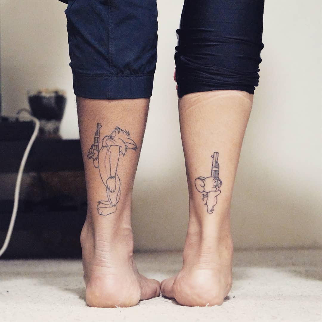 tom and jerry matching tattoo on ankles