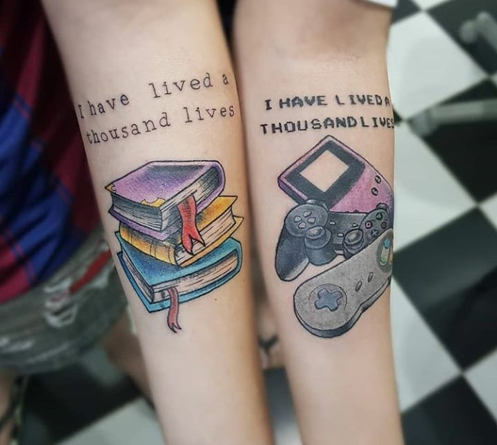 matching tattoos on forearms of books and video games