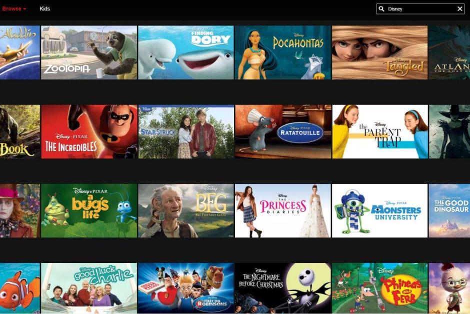 Netflix screenshot of Disney content
