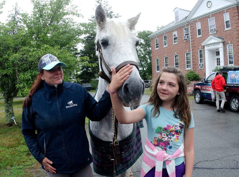 woman, horse, and girl