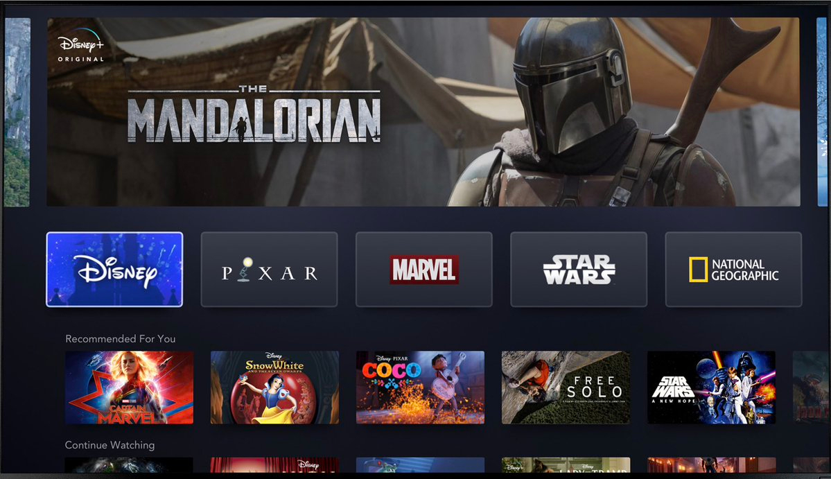 Screencap of Disney+ posted by Disney CEO Robert Iger