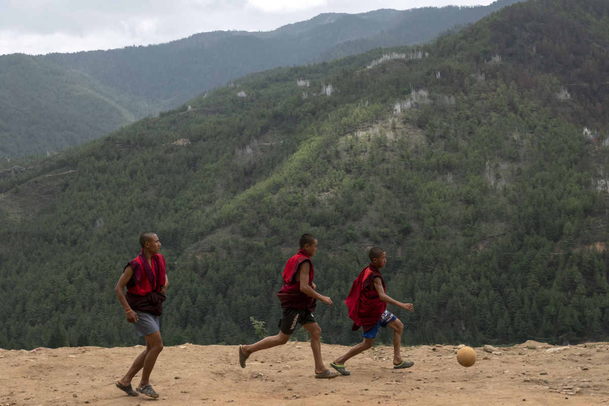 Changing Face Of Bhutan kids playing soccer