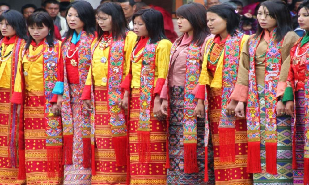 Bhutan women dress red scarves