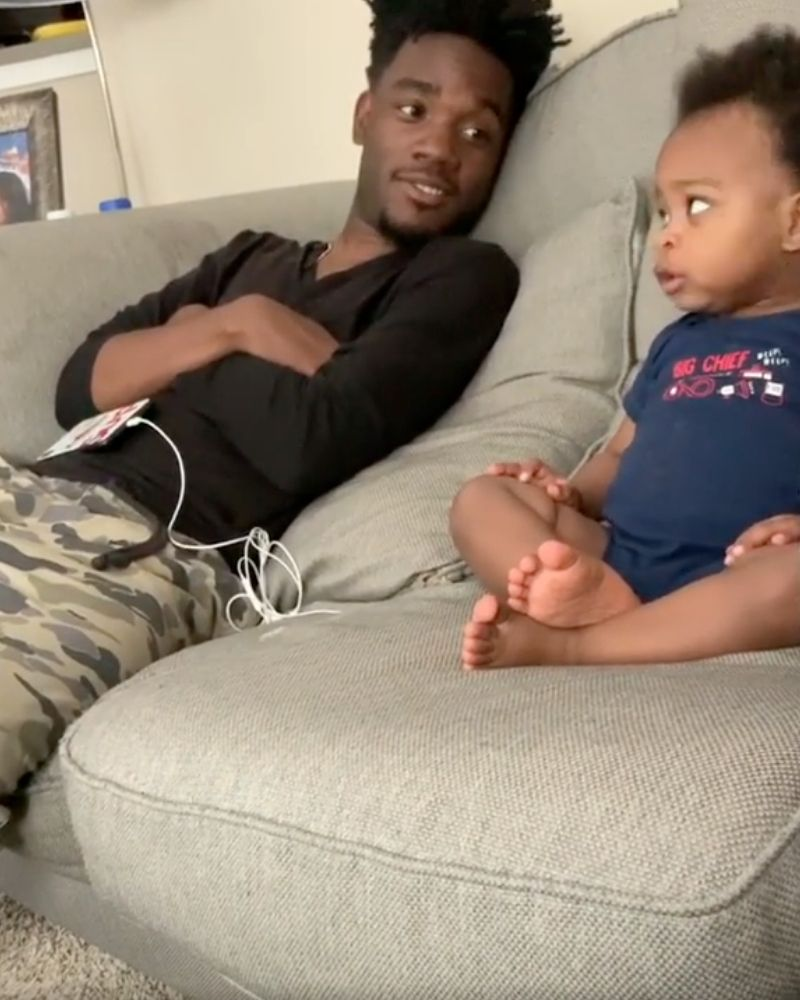 DJ and kingston looking at each other