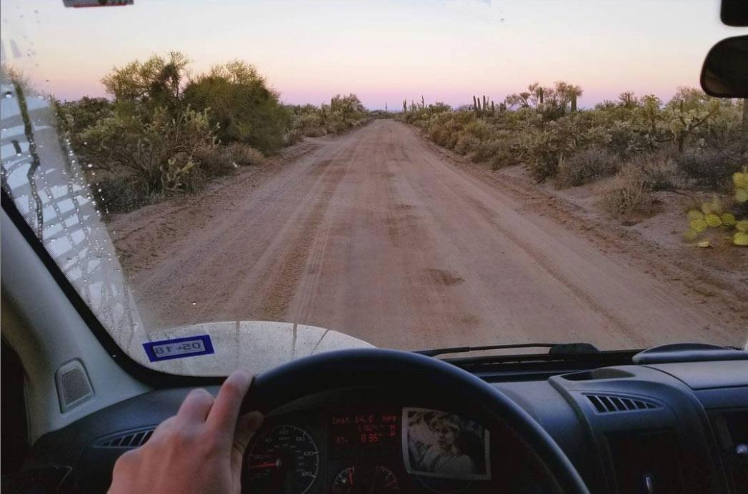 Driving-through-desert