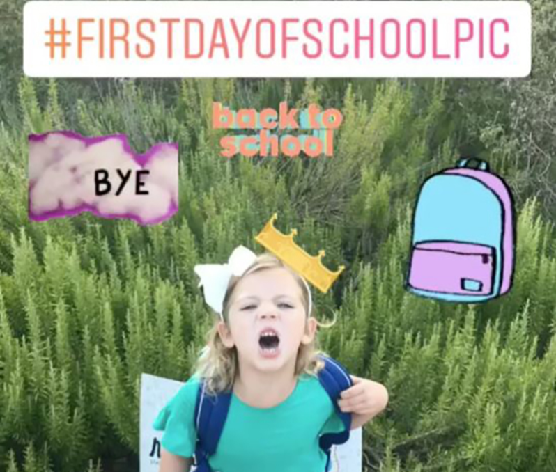 Instagram story first day of school photo