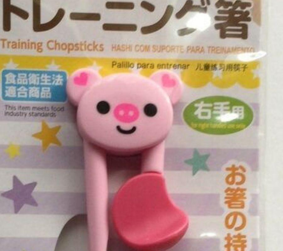 daiso childrens training chopsticks pig cute