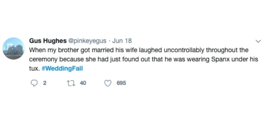 tweet laughing bride spanx