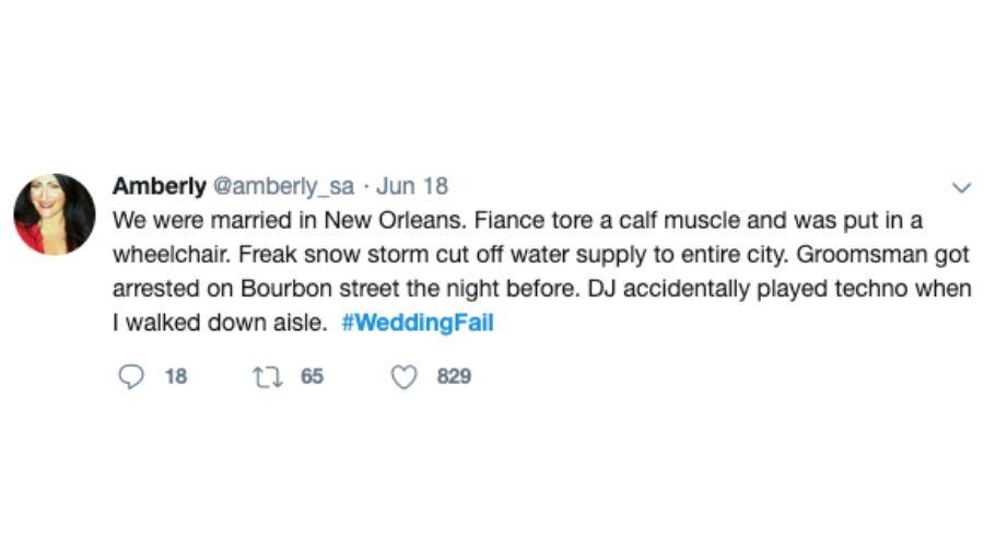 crazy new orleans wedding tweet fiance tore calf muscle etc