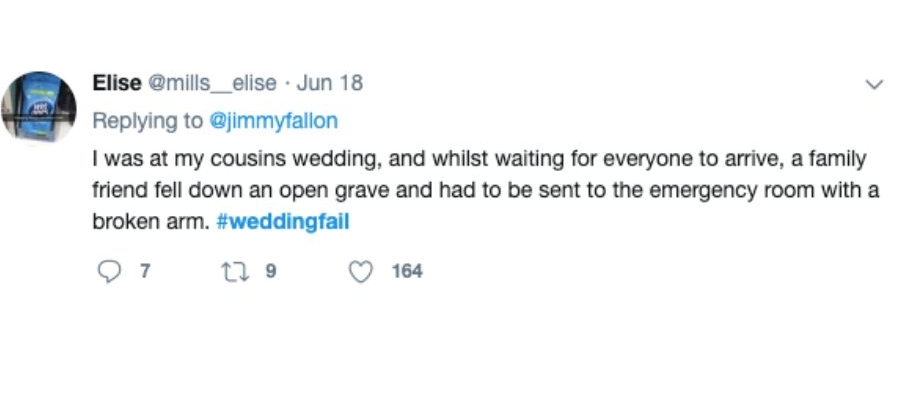 family wedding tweet open grave funny