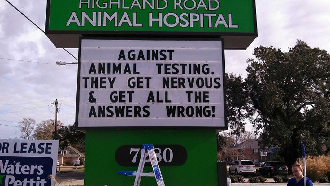 funny-veterinarian-signs - animal testing