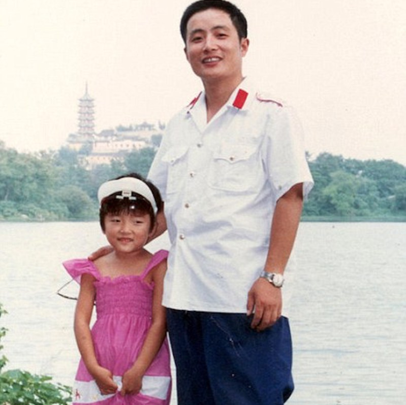 1985 pic of dat and daughter by lake