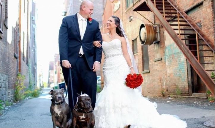 Chris and Mariesa's wedding with two of their dogs