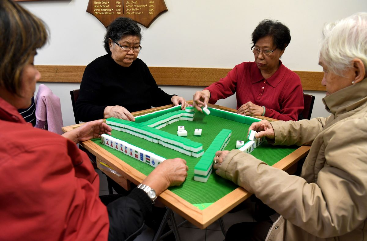 seniors playing mahjong in Melbourne