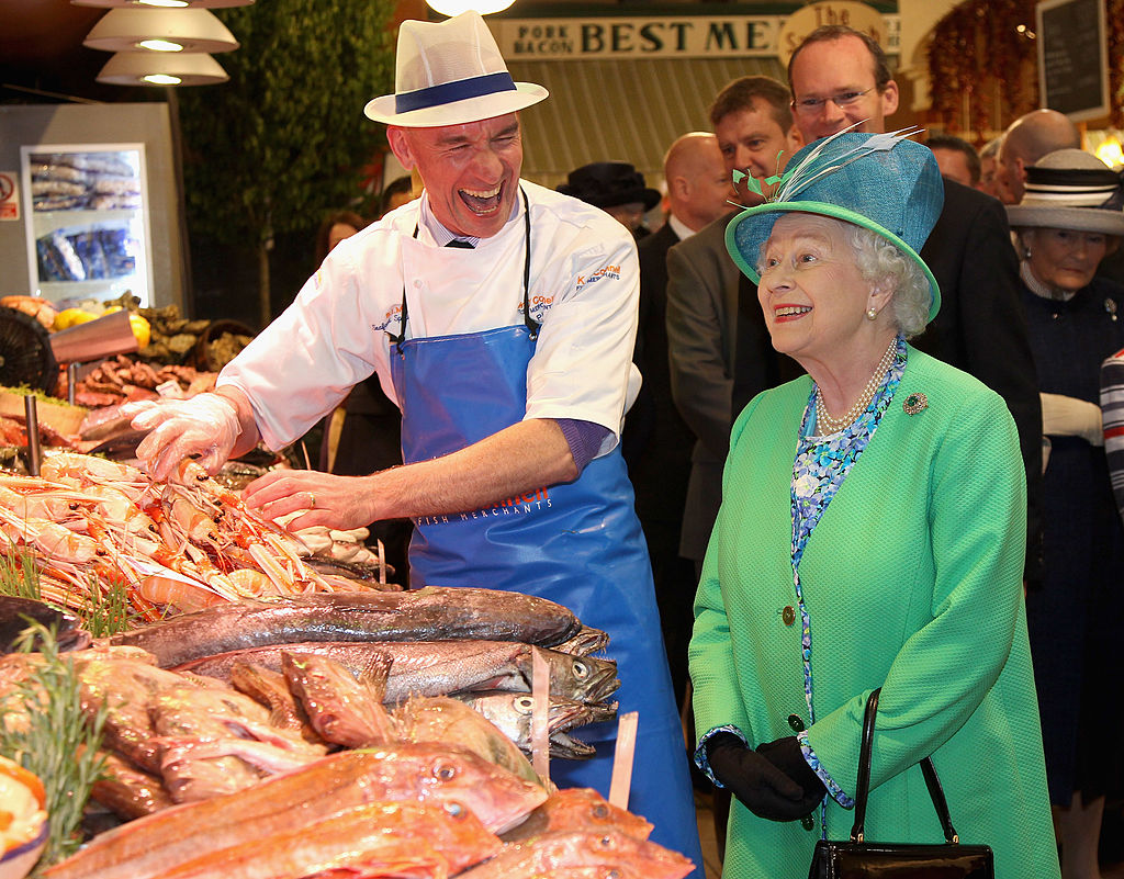 Queen Elizabeth Ll Visiting The English Market In Cork During A State Visit To Ireland-158142916