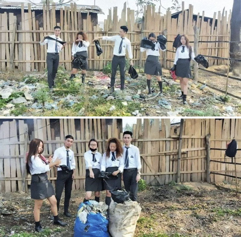 students cleaning yard