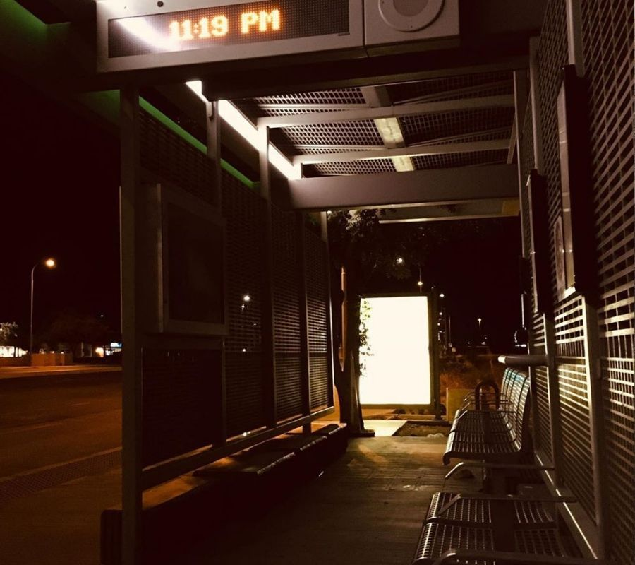 bus stop outside in the cold 11:19 pm
