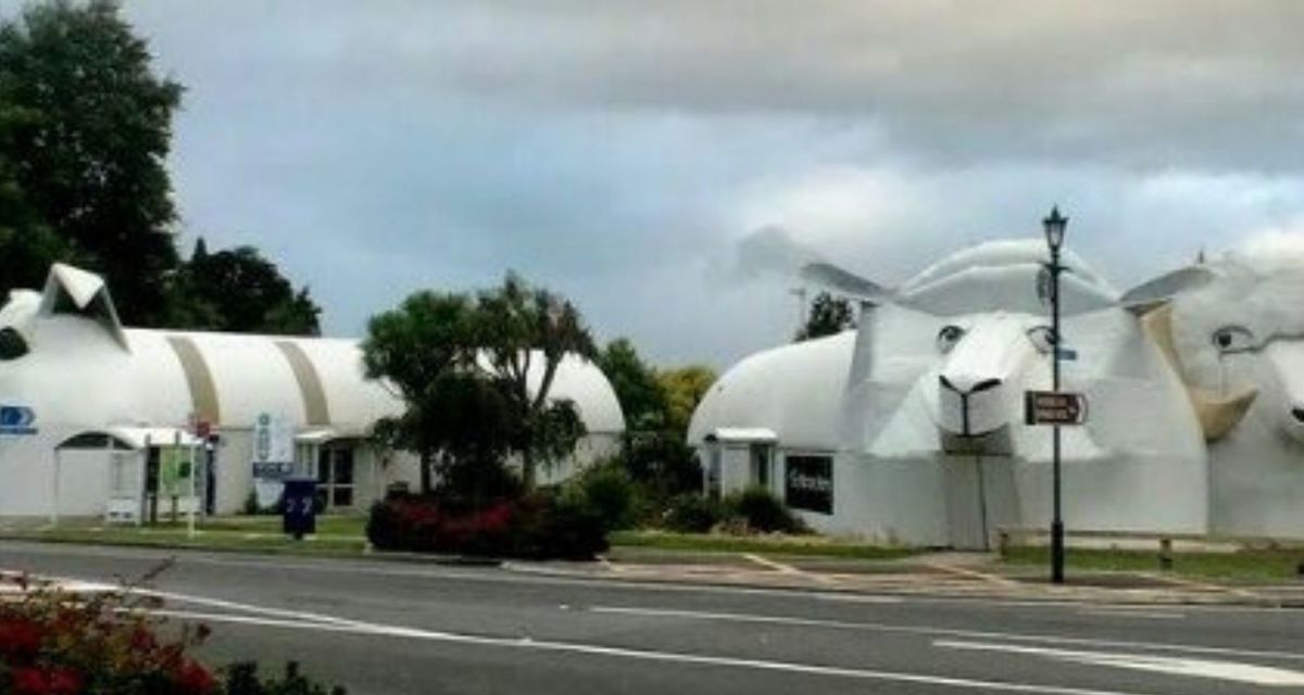 sheep, ram, and dog building cluster of bizarre animal buildings