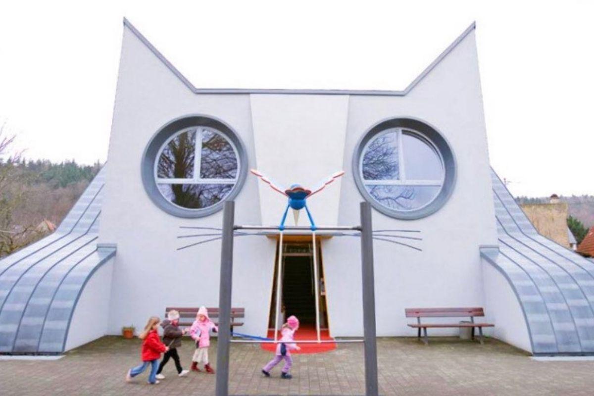 cat kindergarten building shaped like a cat face