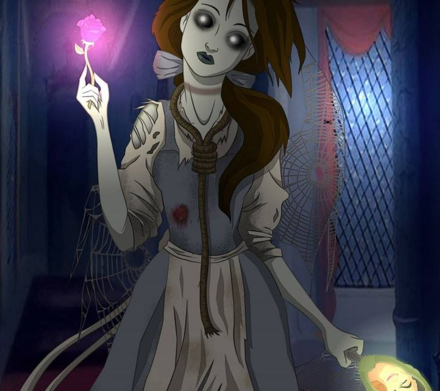 undead belle she's got a creepy rose and looks like a zombie