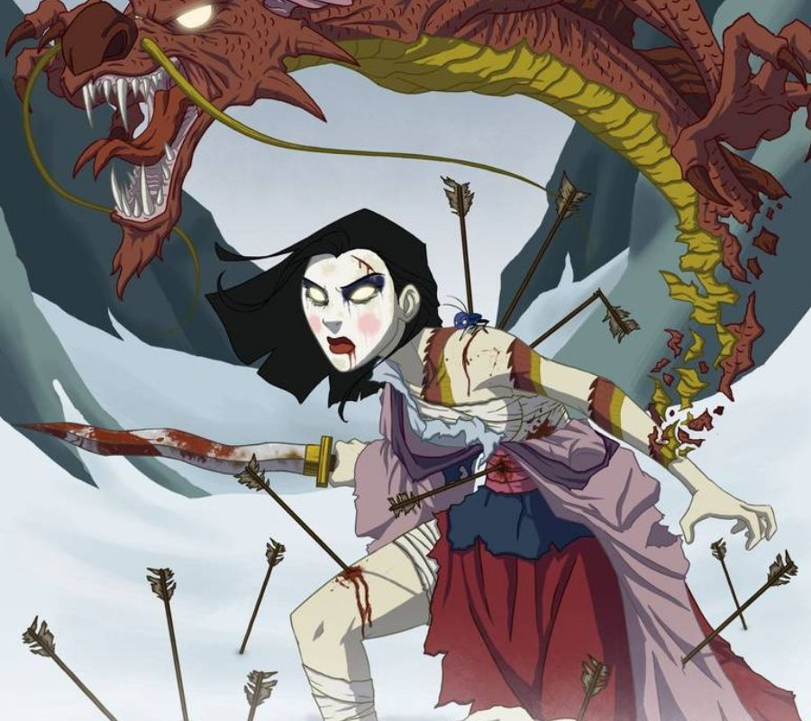 Scary mulan possessed by a dragon