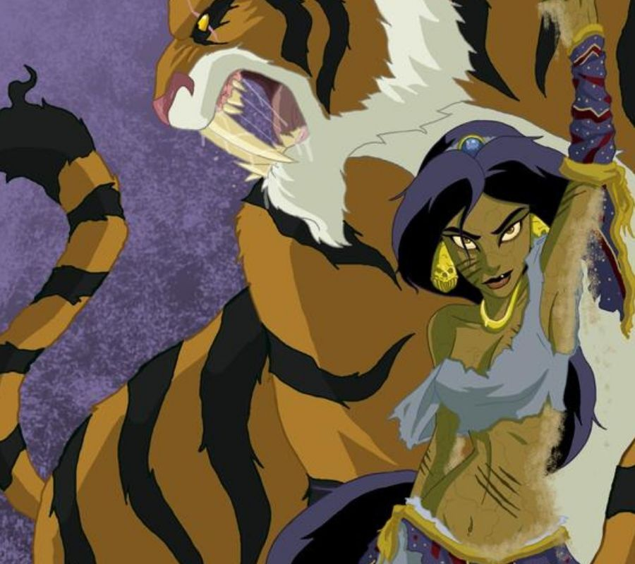 Jasmine scary cat scratches and tiger in the background