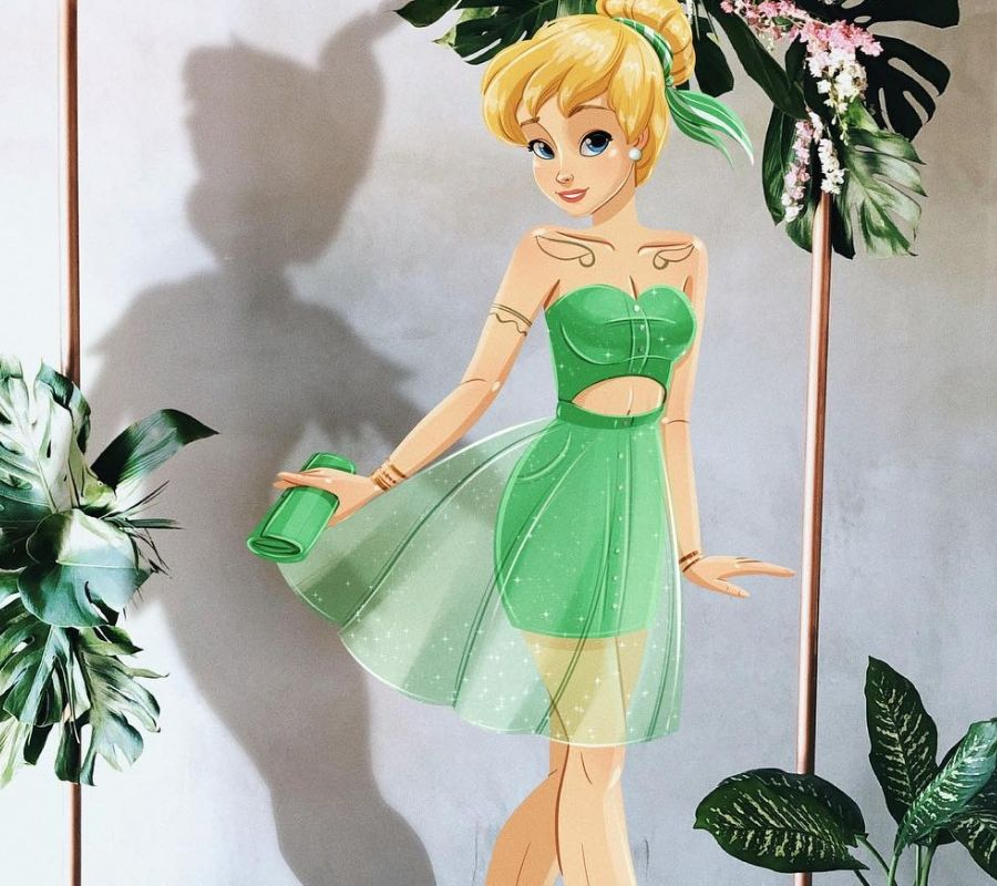modern day tinkerbell drawing she's in a green dress and sneakers