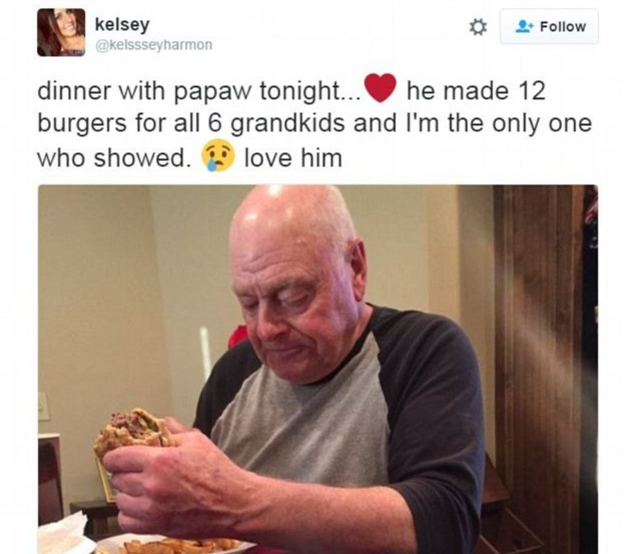pawpaw burgers granddaughter and grandfather eating burgers together
