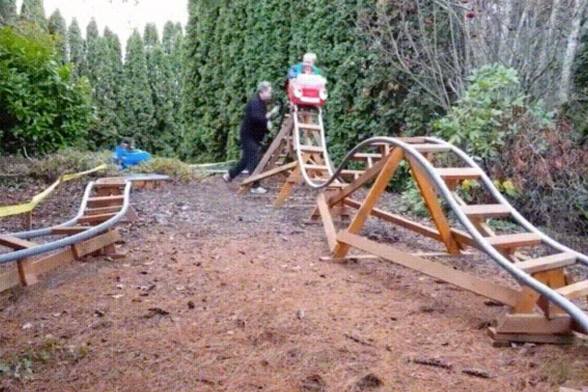 rollercoaster in backyard kids and grandfather