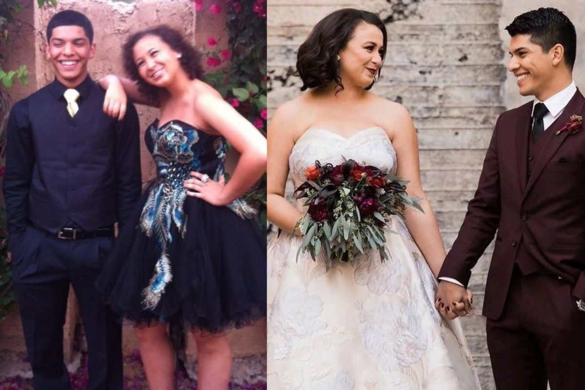 couple at wedding and at prom smiling holding hands