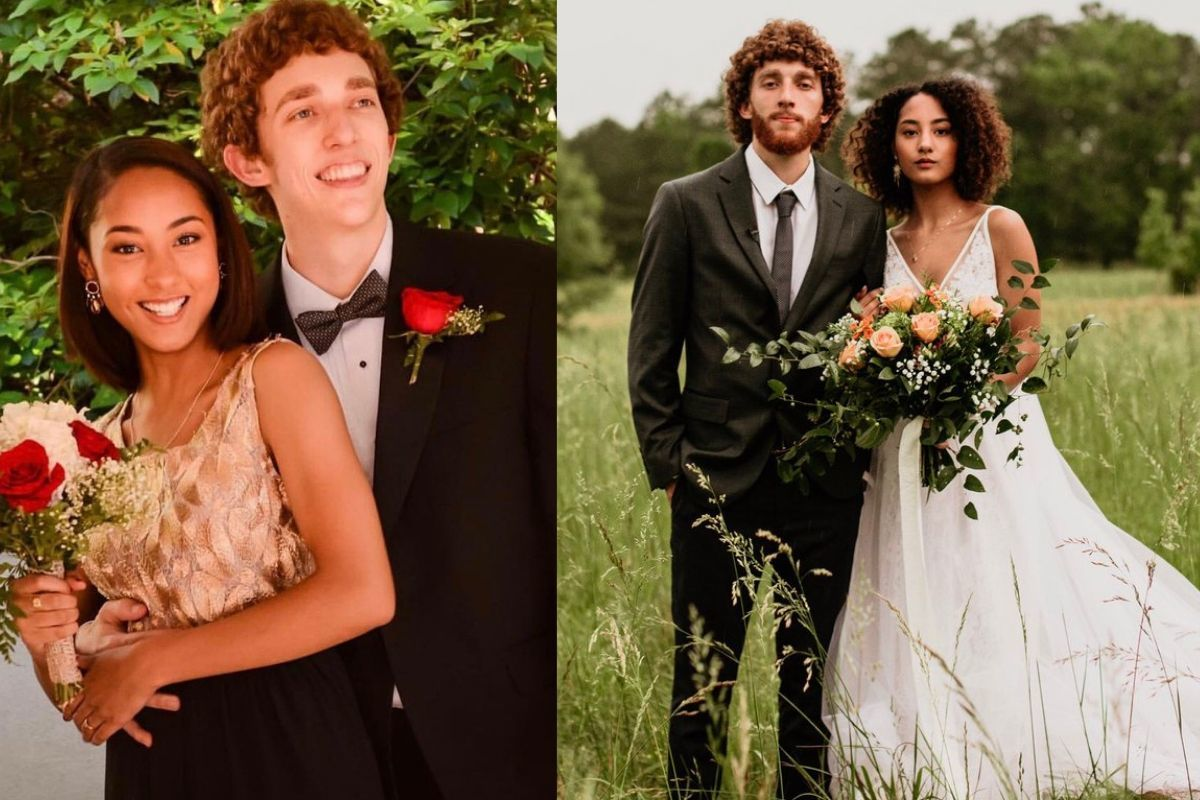 couple at prom and at wedding they both have fantastic hair