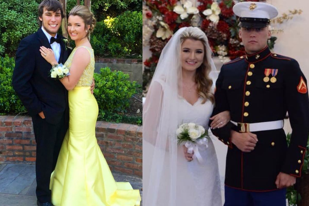 prom date and wedding green prom dress guy in military uniform