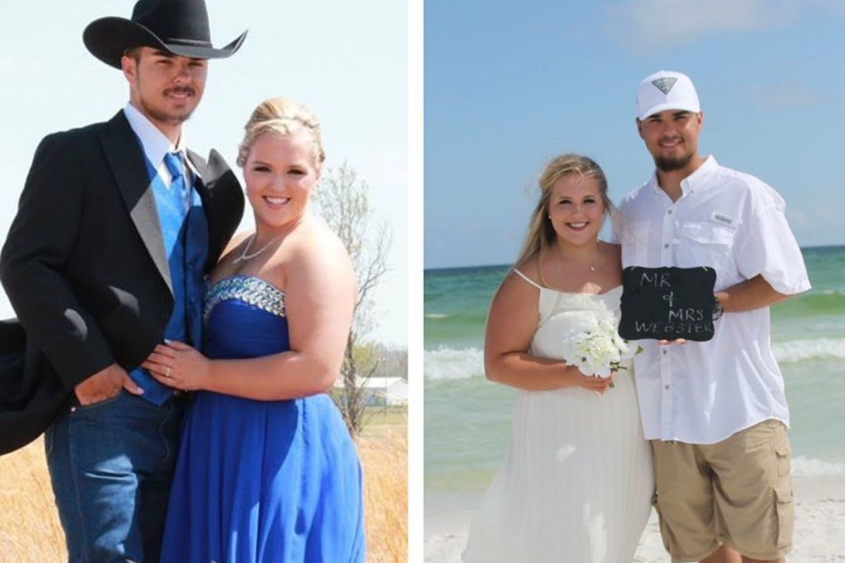 couple at prom and destination wedding he's got a cowboy hat and they're on the beach