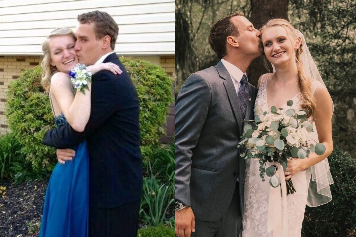 kissing at prom and at wedding cute couple