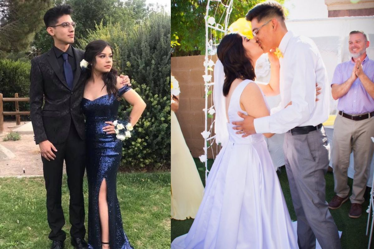 couple at prom and at wedding looking at wedding girl has a blue prom dress