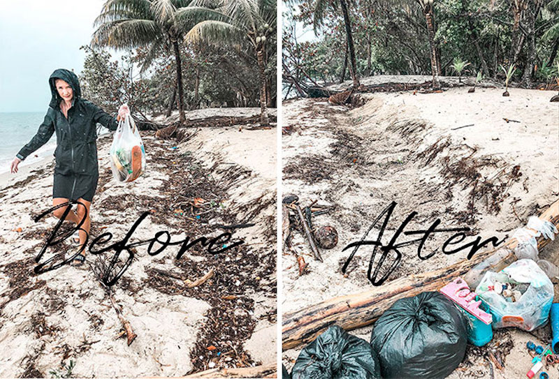 before and after clean up on the beach