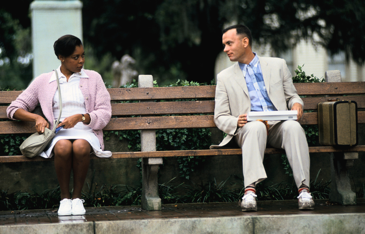 sitting on bench chatting with rebecca williams forrest gump