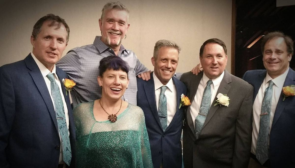 the five friends together at Dallas Burney's (Sallad's) wedding