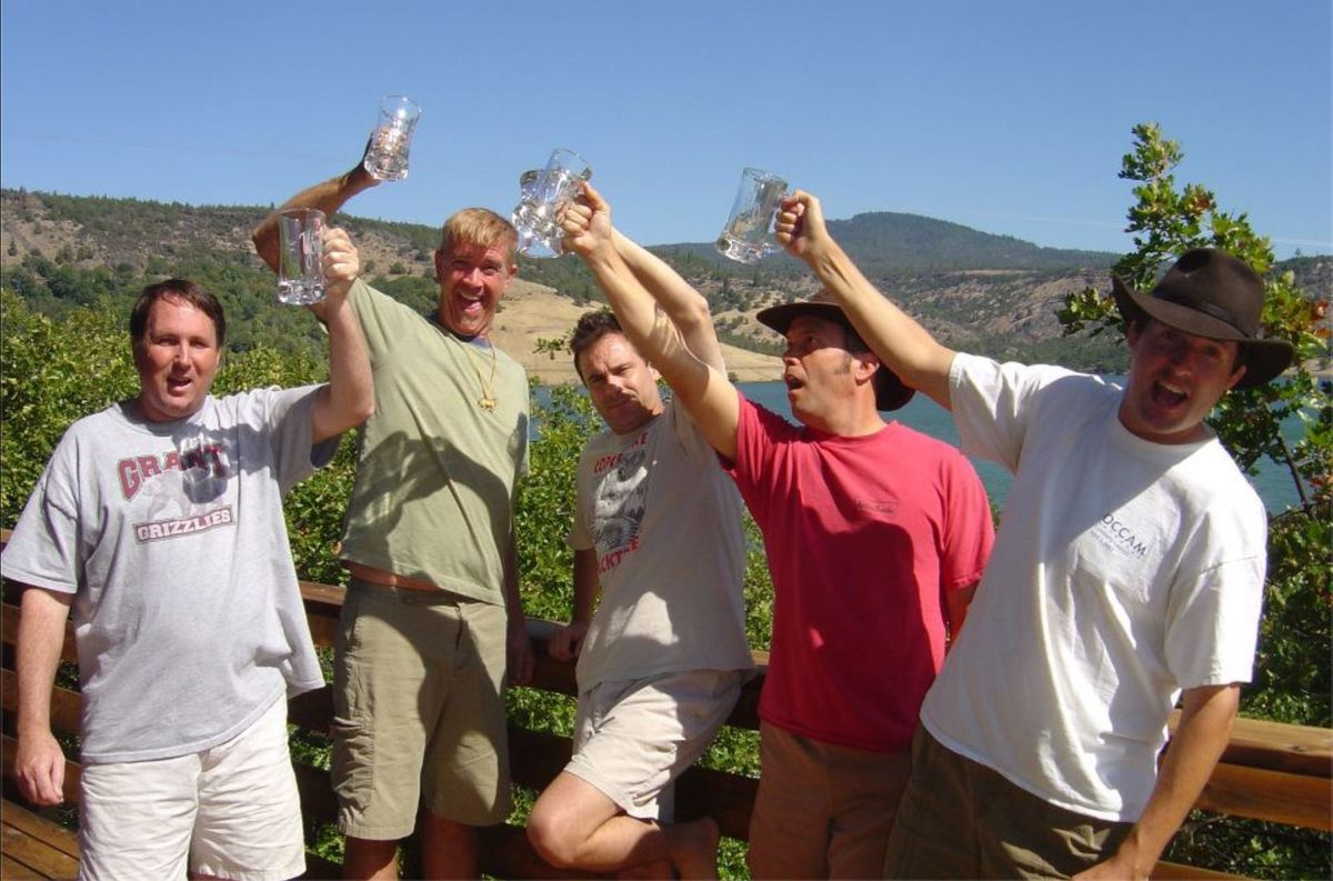 the five friends toasting at the Copco Lake cabin