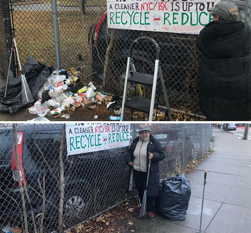 recycle clean up by a fence