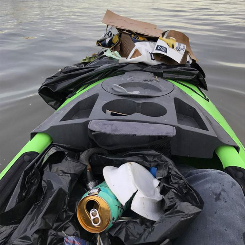 kayak clean up on lake