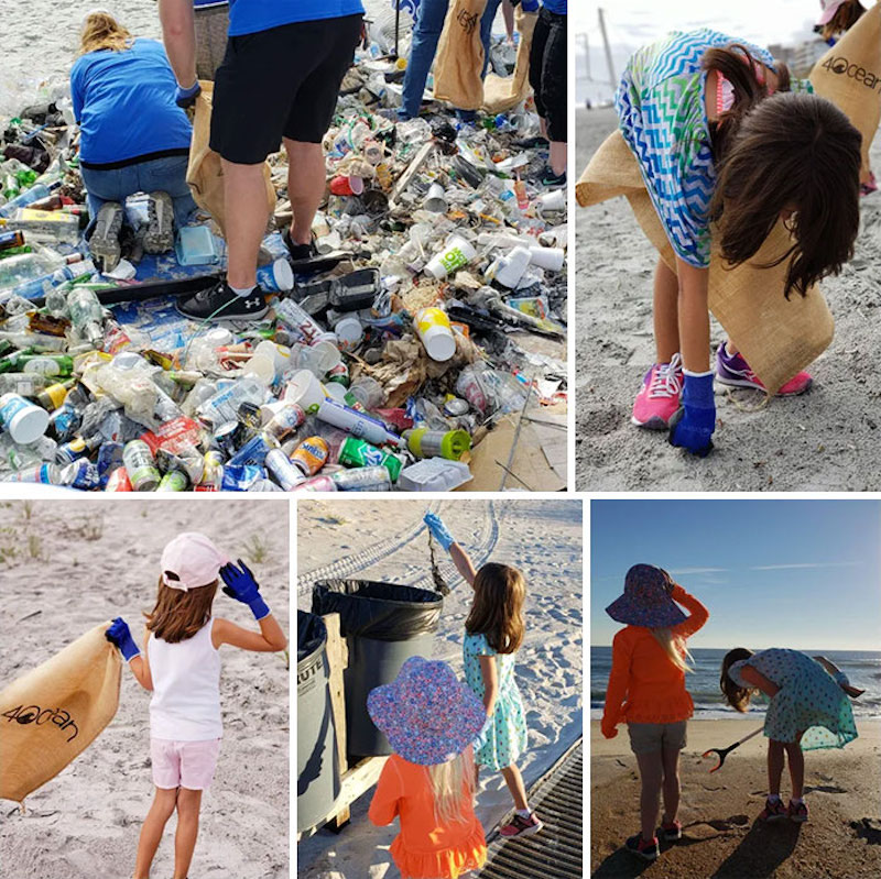 kids cleaning garbage off beach