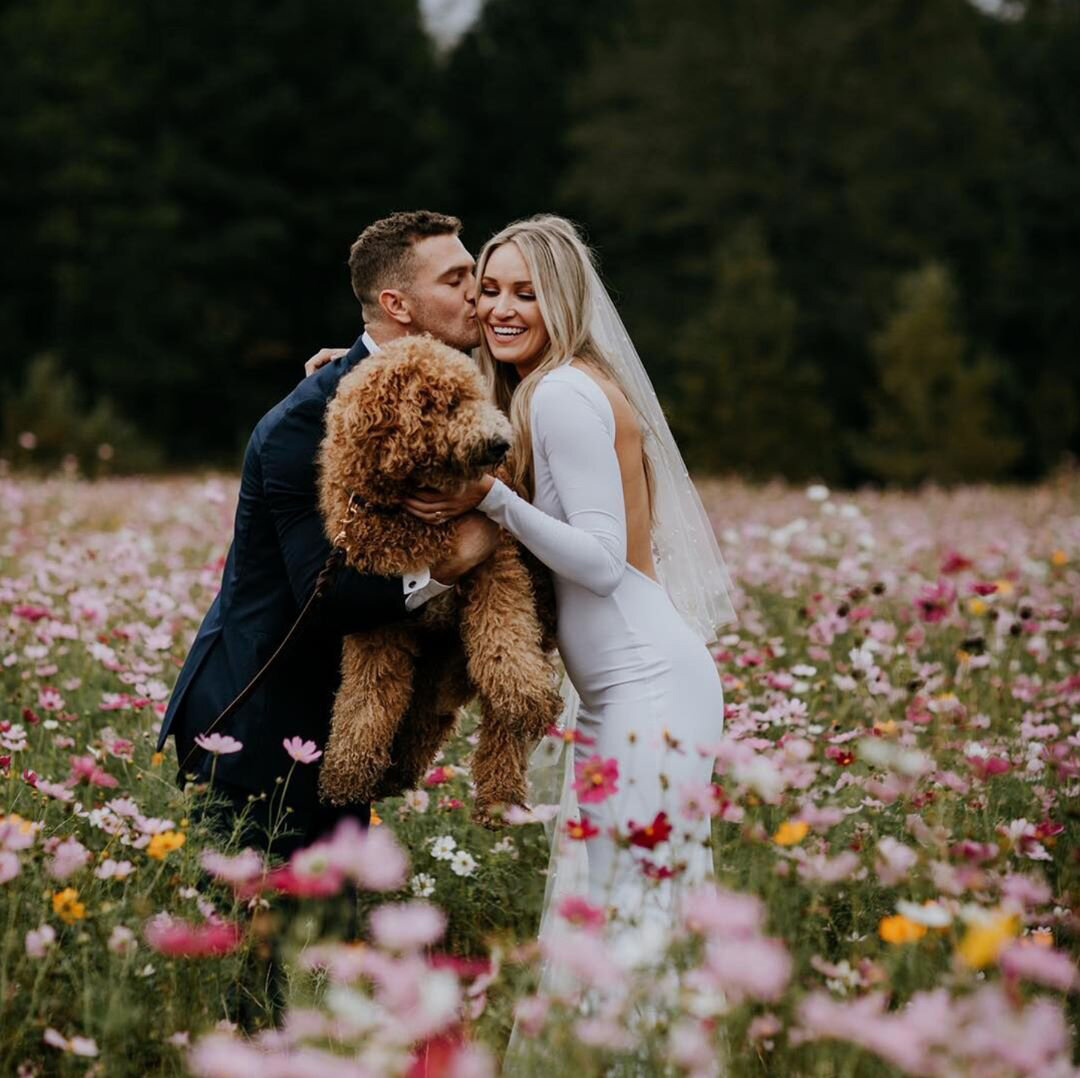 a groom kissing his bride while they hold their dog